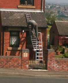 No, no, no! Step ladders are not a step up so you can get to another ladder that is tied to a gate! We swear these ladder fails get worse and worse!   http://www.ladders-online.com/Step-Ladders