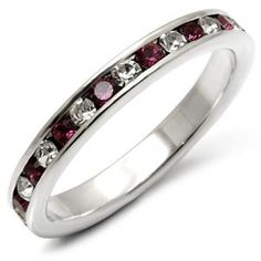 Size 7 Crystal Band - Sterling Silver Clear and Amethyst Swarovski Crystal Band, $19.49