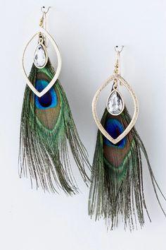 "Belina ""Vanessa"" Peacock Earrings Peacock Earrings, Feather Earrings, Perfect Peacock, Peacock Butterfly, Peacocks, Women's Accessories, Feathers, Jewlery, Piercings"