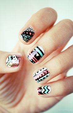 Christmas Vintage Aztec Tribal Nails, Tribal nails for fashion girls,Christmas Aztec Tribal nails for 2013 Fall/Winter  #nails #tribal #Aztec #christmas www.loveitsomuch.com
