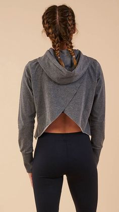 USA Pro Damen Little Mix Crop Shirt Langarm Sport Training Bauchfrei Oberteil