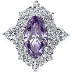 BERRICLE Sterling Silver Marquise Purple CZ Halo Right Hand Cocktail... ($87) ❤ liked on Polyvore featuring jewelry, rings, purple, temporary process, women's accessories, cubic zirconia band rings, cluster rings, statement rings, cz band ring and sterling silver cocktail rings