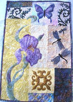 Fiber art quilt Wall  Hanging  Appliqued Iris by KellettKreations