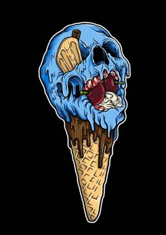 ✝☮✿★ SKULL ✝☯★☮  Anyone for an Ice-cream   cone                                                                                                                                                     More