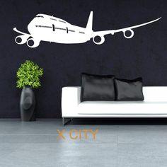 BOEING 747 WALL STICKER - Black / S 14x57cm