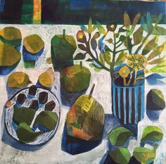 'Figs and olives' 40x40cm acrylic on canvas