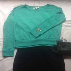 Green Knit Sweater NWOT, never worn!! This sweater is so soft and lightweight. It can be dressed up or down, layered, accessorized, and worn throughout all seasons. I usually wear a medium, and it still fit great. It has kind of a slouchy, relaxed feel to it with a wide neckline and slightly raised hemline and sleeves. I really love this sweater because it is so versatile, but for some reason I've never worn it! Feel free to make an offer (: thanks! Forever 21 Sweaters