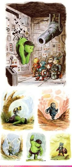 Charles Paul Wilson III drew this awesome crossover of Winnie the Pooh and The Avengers...Winnie the Hulk?