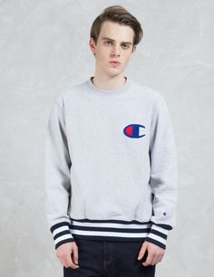 Champion Reverse Weave Contrast Ribbed Sweatshirt with Applique Logo