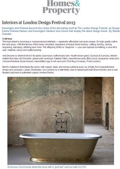 London Design Festival trends: craft luxe, featuring the Tamar cast iron freestanding bath with a gold leaf finish - http://drummonds-uk.com - http://www.homesandproperty.co.uk/your_home_and_garden/shopping_and_design_news/decoratingandinteriorsatlondondesignfestical2013.html