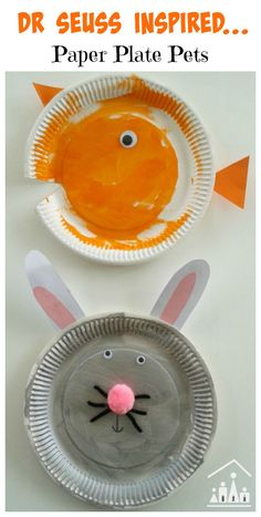 Dr Seuss inspired What Pet Should I Get? Preschool paper plate craft. How to make a paper plate dog, cat, goldfish and rabbit.
