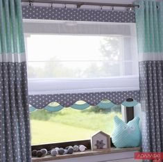 Kids Wave roller blind, gray + mint, any size – Curtains 2020 Curtains Childrens Room, Kids Room Curtains, Curtains With Blinds, Modern Kitchen Curtains, Bay Window Treatments, Grey Roller Blinds, House Foundation, Indian Home Decor, Diy Design