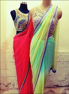 Light georgette/chiffon sarees with heavy blouses .Arpita Mehta. Indian Couture.