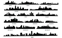 City Skyline Vector Pack for Adobe Illustrator - US Cities Vector Pack of New York City, Cleveland, San Diego, Atlanta, Boston, Chicago, LA, Miami & more.