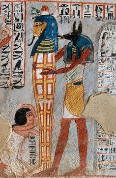 Standing mummy in Roys tomb at Luxor. Theban Tomb is located in Dra' Abu el-Naga', part of the Theban Necropolis, on the west bank of the Nile, opposite to Luxor Ancient Egyptian Art, Ancient History, Art History, Egyptian Temple, Egypt Art, Cairo Egypt, Ancient Egypt Religion, Fresco, Tempera