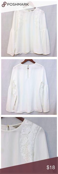 """H&M Cream Bell Sleeve Lace Appliqué Top Sz 14 NWT H&M Cream Bell Sleeve Lace Appliqué Top Sz 14 NWT • Size 14 • Keyhole closure with silver button • 19"""" bust, measured flat • 15.5"""" shoulders • 26"""" length • 18.5"""" sleeve inseam • Creamy white color • Beautiful paisley lace appliqué embellishement • 98% polyester 2% elastane • Unlined • New with tags • Please note, only top portion of tag remains H&M Tops"""
