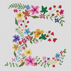 Floral monogram cross stitch pattern pdf - Modern letter E counted font - Wedding needlepoint name pillow - Flower words initial alphabet Floral monogram counted cross stitch pattern pdf – Modern letter Stitch chart Wedding needlepoin Cross Stitch Thread, Cross Stitch Fabric, Cross Stitch Flowers, Cross Stitching, Cross Stitch Embroidery, Cross Stitch Boarders, Cross Stitch Pillow, Snowman Cross Stitch Pattern, Monogram Cross Stitch