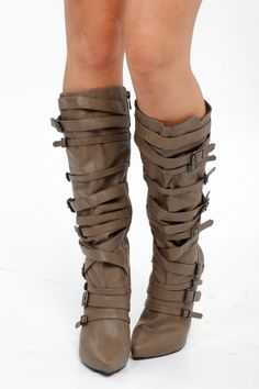 Knee High Multi Buckle High Heel Boots