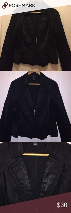 🔸WHBM NEW LISTING Beautiful partial zipper, black peplum jacket.  Poly/nylon.  Always received compliments. White House Black Market Jackets & Coats Blazers