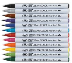 Really nice brush pens, almost like paint.   Limited selection of colors.  Good for coloring in block letters