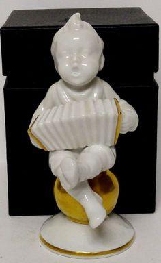 Antique Neutettau Figurine Boy Playing Accordion Bisque Gold Germany Marked