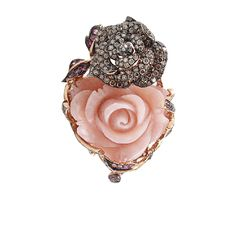 Carved Pink Opal Flower Ring | WENDY YUE. I would love for a man to give me this ring. So romantic & gorgeous <3