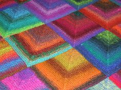 mitred squares knitted blanket by Ruthiejoy, via Flickr