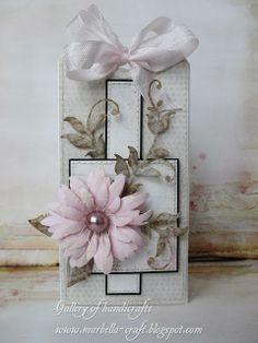 Gallery of handicrafts: ... delikatna kartka. Lovely pink flower on this tag.