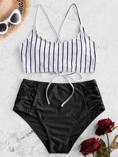 2018 ZAFUL Striped Lace-up Ruched Tankini Swimsuit 2019 - Black L ZAFUL Striped Lace-up Ruched Tankini Swimsuit - Black L bikinis bikini for small chest,swimwear to enhance small bust,Best Bikinis This Summer& Best Bathing Suits For Teens, Summer Bathing Suits, Cute Bathing Suits, Tankini Swimsuits For Women, Cute Swimsuits, Swimwear, Bikinis, Strand Kaftan, Summer Outfits