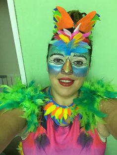 Tropical bird parrot makeup for fancy dress!!