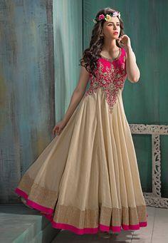 Beige Art Silk and Net Readymade Abaya Style Churidar Kameez