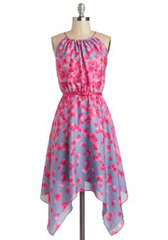 Showered in Sakura Dress by Max and Cleo - Mid-length, Floral, Handkerchief, Belted, Daytime Party, A-line, Sleeveless, Purple, Pink