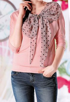 Sweet Polka-dot Print Bowknot Leisure T-shirt