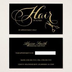 Elegant Gold Glitter Script Hair Stylist Business Card