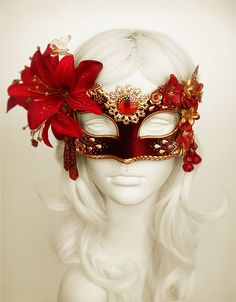 Burgundy, Red & Gold Masquerade Mask WithVarious Embellishments - Venetian Style Flower Mask - For Masquerade Ball, Prom, Halloween