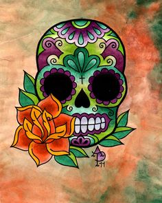 Dia de Los Muertos skull done with a mixture of Prismacolors and ink Skull Roses Tattoo, Sugar Skull Tattoos, Mexican Skulls, Mexican Folk Art, Caveira Mexicana Tattoo, Sugar Skull Artwork, Sugar Skull Painting, Body Painting, Sugar Scull