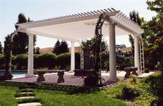 Vinyl pergolas (much like vinyl railings) provide a virtually maintenance free option for a new addition to your porch, deck, or other outdoor area. Vinyl Pergola, Pergola Patio, Pergola Ideas, Outdoor Ideas, Backyard Ideas, Outdoor Rooms, Outdoor Dining, Outdoor Gardens, Garden Structures