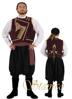 Traditional festive costume from Cyprus.  Style: early 20th century.  This is a workshop-made ensemble, as worn by folk dance groups.