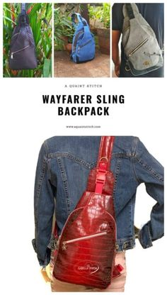 Sewing pattern for beginners Handbag Patterns, Bag Patterns To Sew, Sewing Patterns, Sling Backpack Purse, Leather Men, Leather Jackets, Pink Leather, Fabric Bags, Backpacks