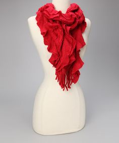 Take a look at this Red Ruffle Scarf by Finish the Look: Accessories on #zulily today!