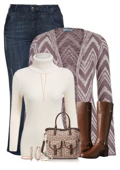 """""""Chevron Cardigan & Bag"""" by majezy ❤ liked on Polyvore featuring Zizzi, maurices, Bandolino and Henri Bendel"""