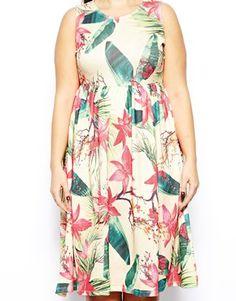 Image 3 ofASOS CURVE Midi Dress In Tropical Floral Print