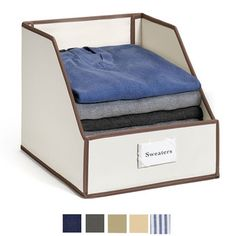 Sweater Bins For Organized Closet Storage with available color swatches