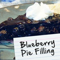 Recipes for Diabetes: Blueberry Pie Filling
