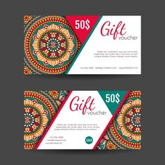 Boho style gift vouchers designs Free Ve. Unique Business Cards, Business Card Design, Best Visiting Card Designs, Gift Voucher Design, Letterpress Business Cards, Vector Photo, Gift Vouchers, Free Download, Mandala Design