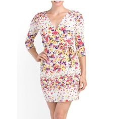 ✨NWT✨ Jessica Simpson Floral Wrap Dress NWT! Jessica Simpson floral wrap dress. See third pic for dress/fabric/care details. Size 4, true to size.***No Trades or PayPal*** Jessica Simpson Dresses Mini