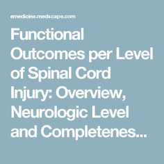 Functional Outcomes per Level of Spinal Cord Injury: Overview, Neurologic Level and Completeness of Injury, C1-C4 Tetraplegia (High Tetraplegia)