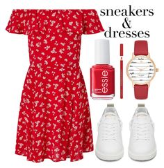 """sneakers and dresses"" by j-n-a ❤ liked on Polyvore featuring Essie, Kate Spade, Miss Selfridge, Golden Goose, Bourjois, dresses, sneakers and SNEAKERSANDDRESSES"