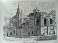 Fontaine des Innocents in its original location in the 17th century (19th-century engraving)
