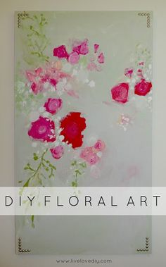 DIY Floral Art with Nailhead Trim + 10 other easy DIY art ideas
